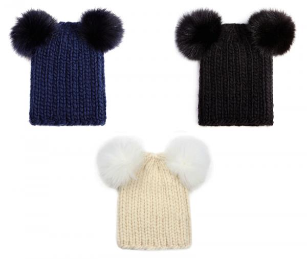 Eugenia Kim Mimi Knit Hat with Fur Pompoms