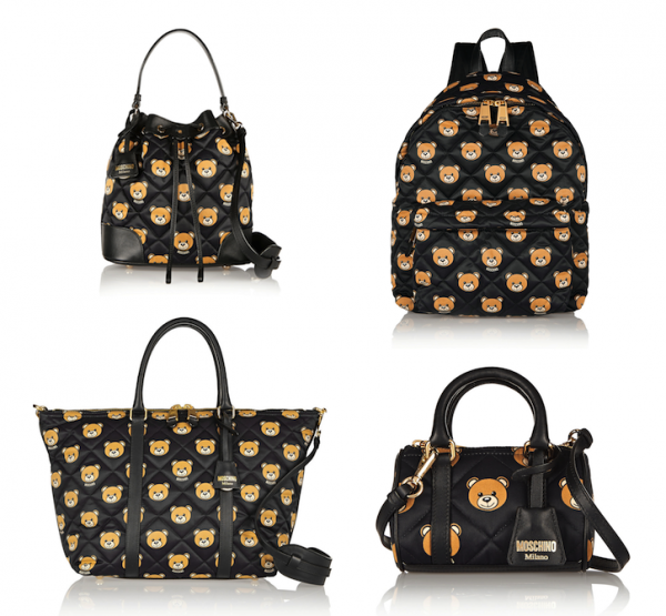 Moschino Leather-Trimmed Printed Quilted Shell Bags