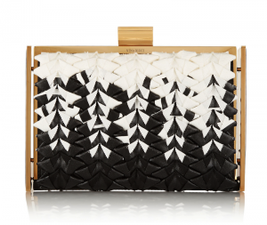 Nina Ricci Ecrin Grosgrain and Leather Box Clutch