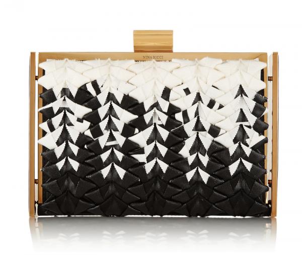 Nina Ricci Ecrin Grosgrain and Leather Box Clutch