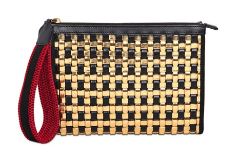 Marni Woven Faux Leather & Leather Clutch