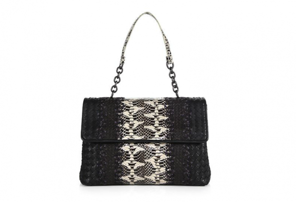 Bottega Veneta Olimpia Intrecciato Leather & Python Top-Handle Bag