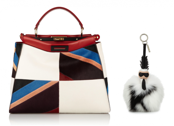 Fendi Peekaboo Large Leather-Trimmed Patchwork Calf-Hair Tote and Super Karlito Fox Fur Purse Charm