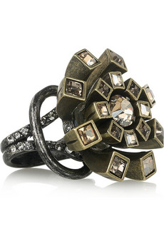 Lanvin Swarovski Crystal Flower Ring