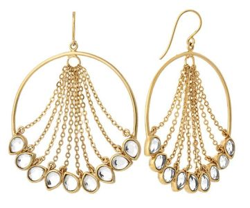 Isharya waterfall earrings these elegant earrings are a twist on a chandelier and a hoop aloadofball Choice Image