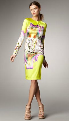 f9903ff61d69 Watercolor-like bursts of color make this yellow frock a true standout.  Literally. At Bergdorf Goodman for $1,095.