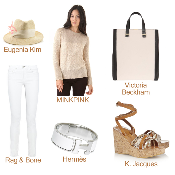 Rag & Bone Straight Jeans, K. Jacques Sandals, Hermès Bracelet, MINKPINK Sweater, Eugenia Kim Hat, and Victoria Beckham Tote