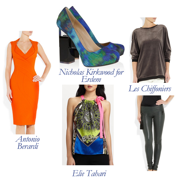 Antonio Berardi Dress, Elie Tahari Top, Les Chiffoniers Top and Leggings, Nicholas Kirkwood for Erdem Pumps