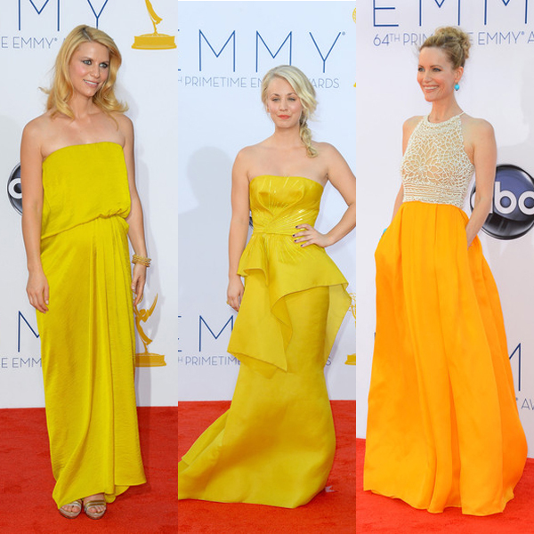 Claire Danes in Lanvin, Kaley Cuoco in Angel Sanchez, and Leslie Mann in Reem Acra at the Emmy Awards