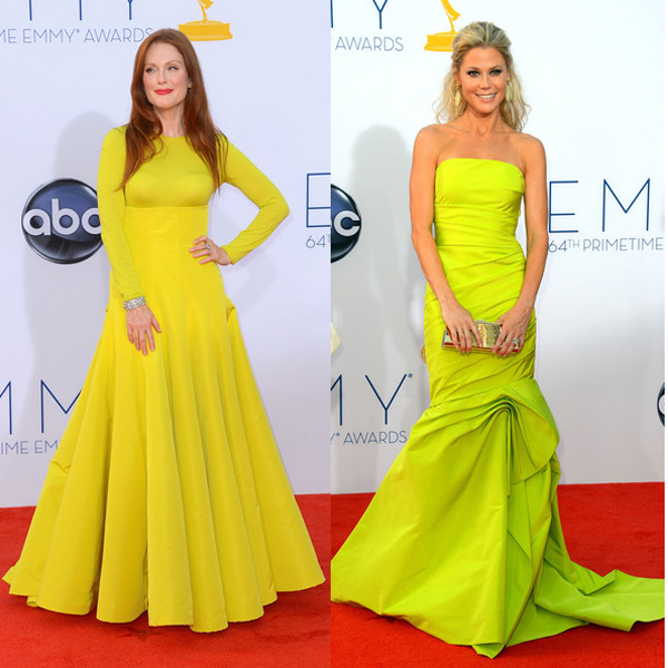 Julianne Moore in Christian Dior Haute Couture and Julie Bowen in Monique Lhuillier at the Emmy Awards
