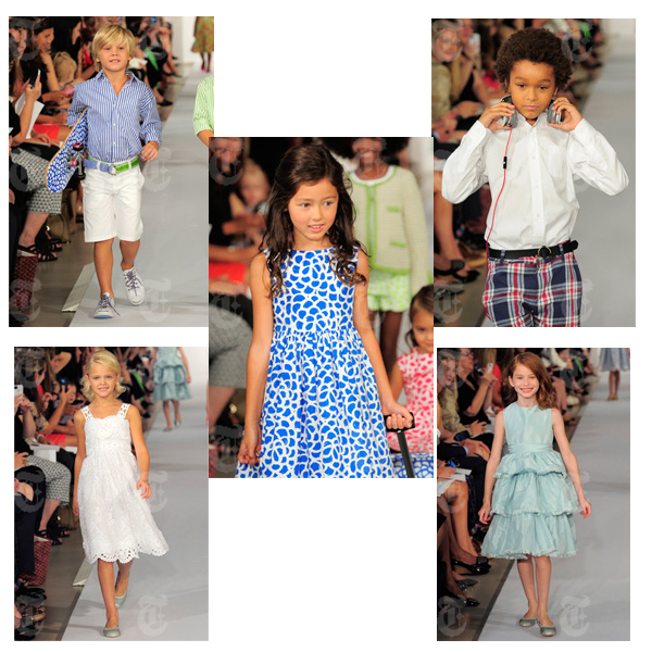 Oscar de la Renta shows images from his Spring/Summer 2013 Childrenswear fashion shoe.