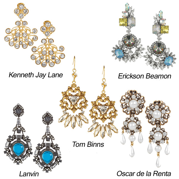 Kenneth Jay Lane, Oscar de la Renta, Tom Binns, Erickson Beamon, Lanvin Chandelier Jewelry
