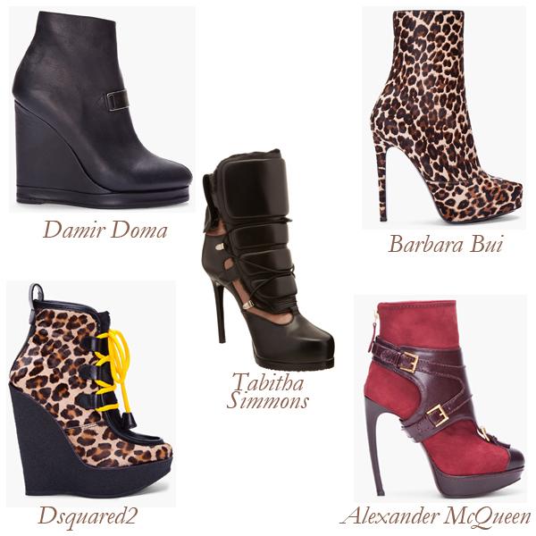 Damir Doma, Barbara Bui, Dsquared2, Alexander McQueen, Tabitha Simmons Heel Boots