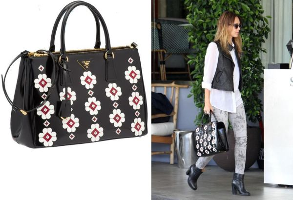 33d31001ad37 Jessica Alba  Flawless in Prada Flowers Brushed Calf Leather Tote