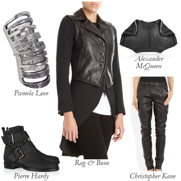 Rag & Bone Tailcoat, Pierre Hardy Boots, Christopher Kane Leather Pants, Alexander McQueen Clutch, Pamela Love Ring