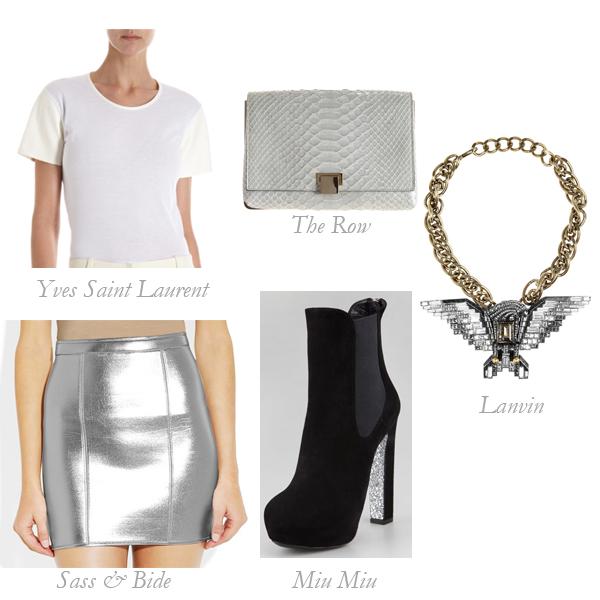 Sass & Bide Skirt, Yves Saint Laurent T-Shirt, The Row Clutch, Miu Miu Booties, Lanvin Necklace