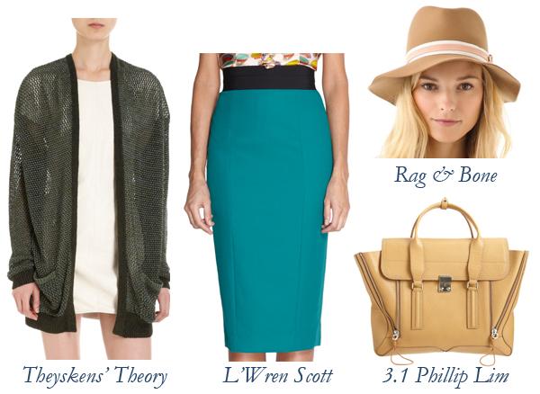 Theyskens' Theory Cardigan, L'Wren Scott Skirt, Rag & Bone Hat, 3.1 Phillip Lim Bag