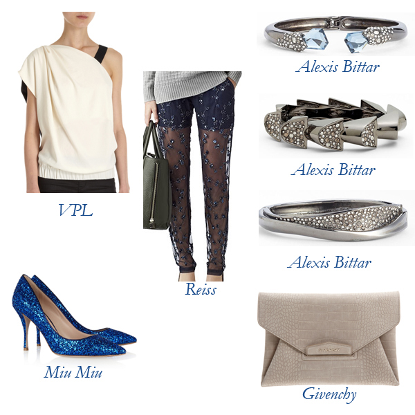 Reiss Leggings, VPL Top, Miu Miu Heels, Givenchy Bag, Alexis Bittar Bracelet