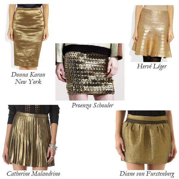 Donna Karan New York, Catherine Malandrino, Proenza Schouler, Diane von Furstenberg, Hervé Léger Metallic Skirts