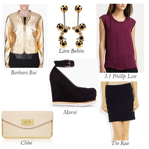 Marni Wedges, Barbara Bui Jacket, Chloé Clutch, The Row Skirt, 3.1 Phillip Lim Silk Muscle Tee, Lara Bohinc Earrings