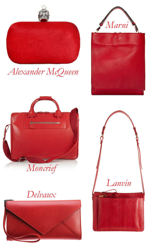 Moncrief, Alexander McQueen, Delvaux, Lanvin, Marni Red Bags
