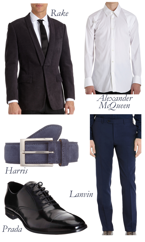 RAKE Smoking Jacket, Alexander McQueen Harness Shirt, Prada Shoe, Lanvin Pants, Harris Belt