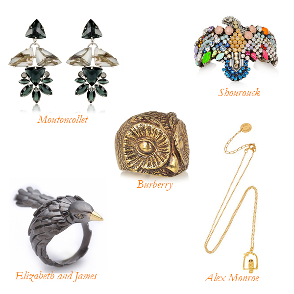 Moutoncollet Earrings, Shourouck Cuff, Burberry Ring, Alex Monroe Necklace, Elizabeth and James Ring