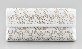 Nancy Gonzalez Crocodile Fold-Over Flower Clutch Bag