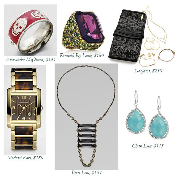 Alexander McQueen Ring, Kenneth Jay Lane Ring, Chan Luu Earrings, Michael Kors Watch, Bliss Lau Necklace, Gorjana Jewelry Set