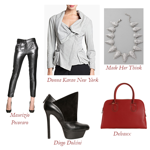Donna Karan Jacket, Maurizio Pecoraro Trousers, Diego Dolcini Booties, Delvaux Bag, Made Her Think Pavé Necklace