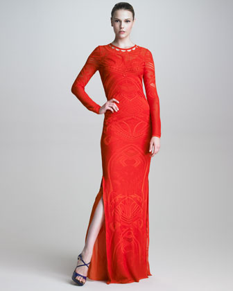 Robert_Cavalli_knit _long_sleeve_maxi_dress