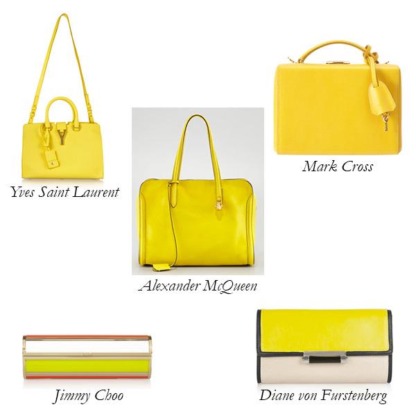 Yves Saint Lau Jimmy Choo Diane Von Furstenberg Alexander Mcqueen Mark Cross Yellow Bags