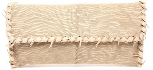 Bottega Veneta Frayed Leather and Karung Lizard Clutch