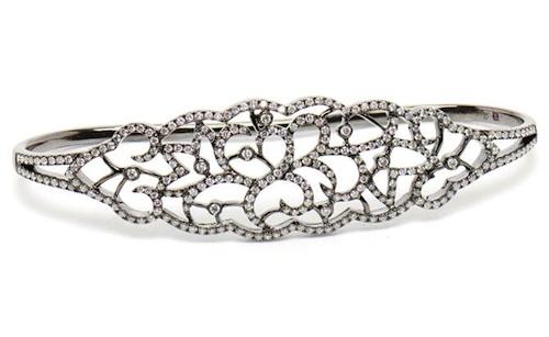 Gaydamak Black Gold and Diamond Hand Bracelet