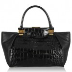 Lanvin Trilogy Croc-Effect Leather Shopper