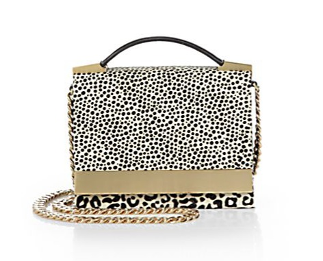 B Brian Atwood Ava Spotted Calf-Hair Convertible Top-Handle Bag