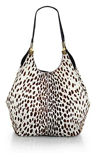 Elizabeth and James Abstract Animal-Print Calf-Hair Shopper