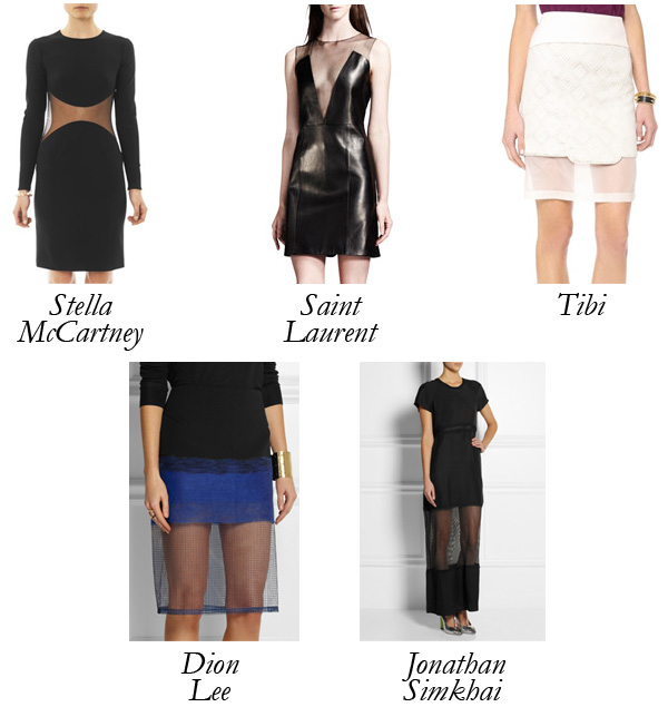 Tibi_JonathanSimkhai_StellaMcCartney_DionLee_SaintLaurent_Sheer_Skirt_Dress