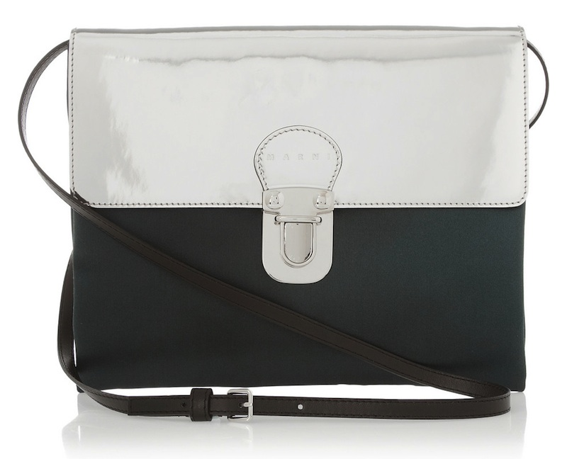 Marni Metallic Patent-Leather and Satin Shoulder Bag