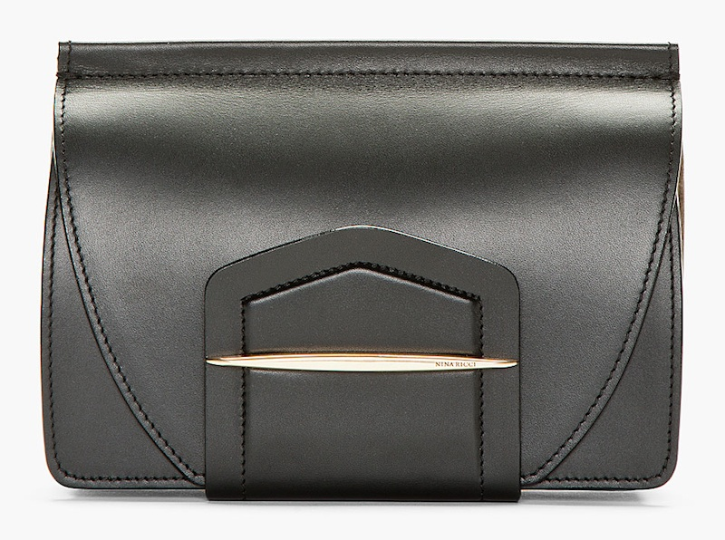 Nina Ricci Black Leather Wraparound Tab Clutch