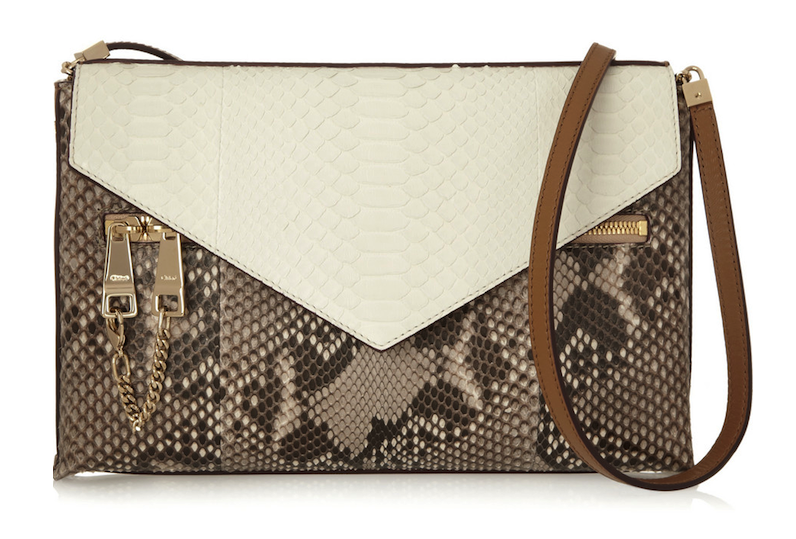Chloé Cassie Medium Python and Leather Shoulder Bag