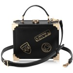 Aspinal of London Black Smooth Leather Trunk Clutch