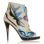 Burberry Prorsum Painted Textured-Leather Ankle Boots