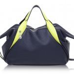 Francesco Biasia Sorbonne Dark Blue and Neon Yellow Leather Satchel