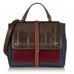 Jérôme Dreyfuss Edouard Denim, Suede, and Snake Shoulder Bag