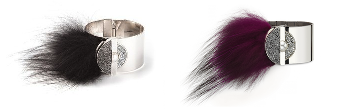 Fendi Fox Fur & Crystal Bracelet