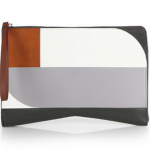 Narciso Rodriguez Lygia Leather and Suede Colorblock Clutch