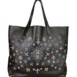 Amen Leather Bag with Stones Embroidery