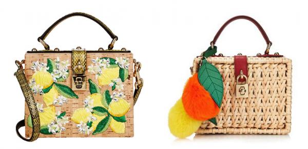 Dolce & Gabbana Lemon-Embroidered & Jewel-Embellished Lunch Box and Miss Dolce Raffia Box Shoulder Bag