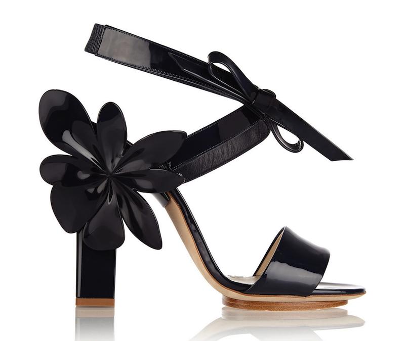 Delpozo Dark Navy Patent Leather Flower Sandals